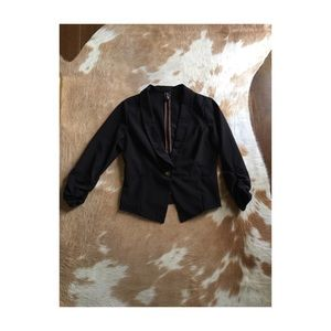 Jackets & Blazers - black ruched sleeve blazer